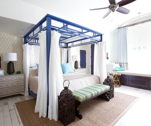 bed, bedroom, and blue image