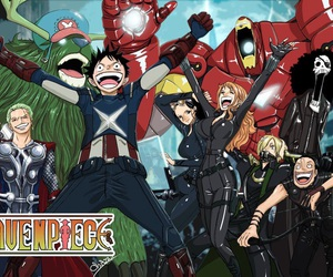 one piece, Avengers, and anime image