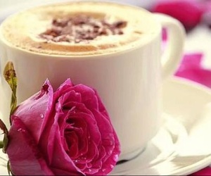 coffee, pink, and flower image