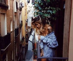 girl, tattoo, and coffee image