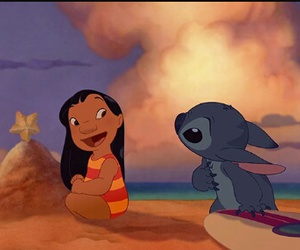 stitch, beach, and disney image