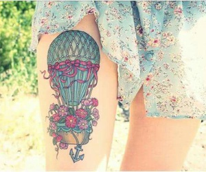 tattoo, flowers, and balloon image