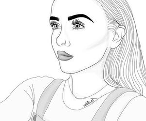 outline, girl, and art image