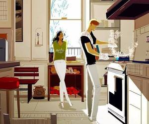 cooking, kitchen, and couple image
