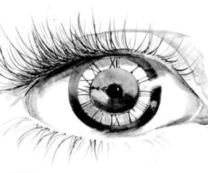 eye, clock, and art image