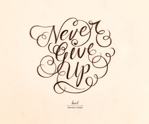 never give up, quote, and text image