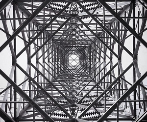 black and white, building, and symmetry image