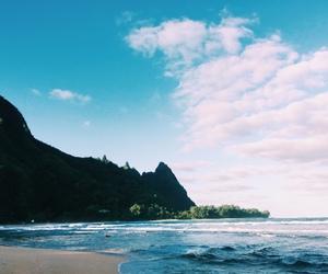 beach, ocean, and mountain image