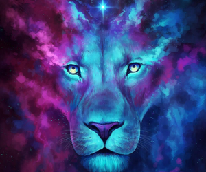 lion, art, and blue image