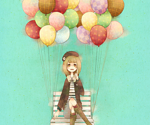 balloons, cat, and girl image