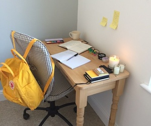 desk, yellow, and aesthetic image