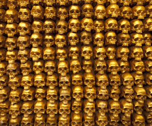 gold, skull, and golden image