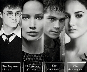 harry potter, divergent, and hunger games image
