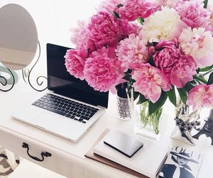 flowers, pink, and desk image