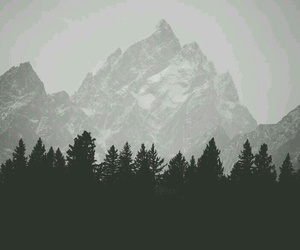 mountains, nature, and black and white image