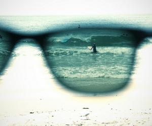 beach, glasses, and sea image