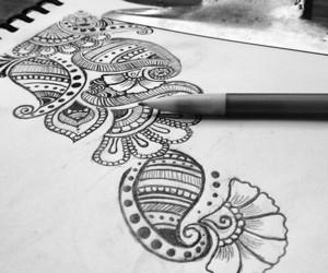 art, drawing, and henna image