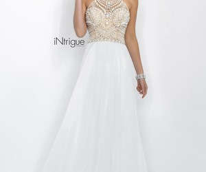 prom dress, white prom dress, and high neck prom dress image