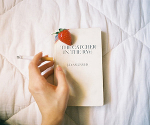 book, cigarette, and strawberry image