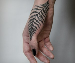 arm, fern, and tattoo image