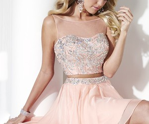 peach, prom 2016, and two piece dress image