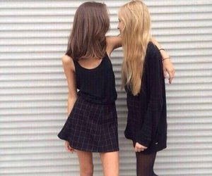girl, friends, and black image