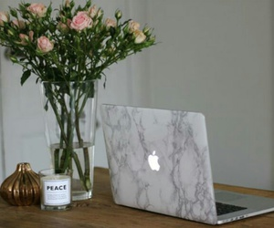 black and white, flowers, and marble image