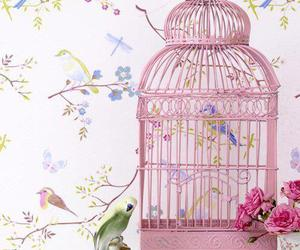 bird, pink, and cage image