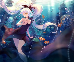 anime, blue, and creatures image