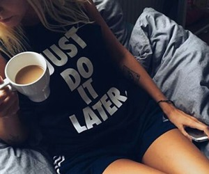 girl, coffee, and nike image