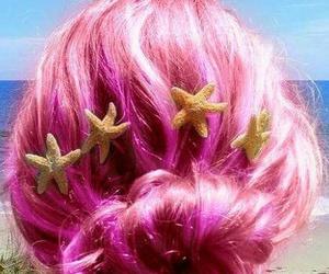 hair, pink, and mermaid image
