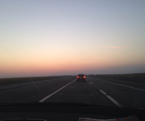 road, sunset, and roadtrips image