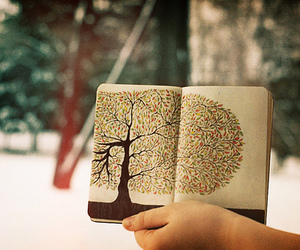 tree, book, and art image