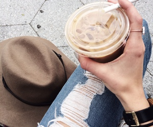 coffee, jeans, and hat image