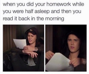 funny, justin bieber, and homework image
