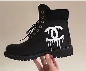 chanel, black, and shoes image
