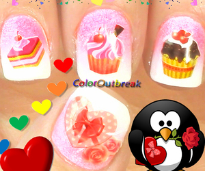 nail art, nails, and Valentine's Day image