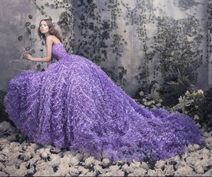 dress, purple, and flowers image