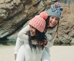 friends, winter, and beach image