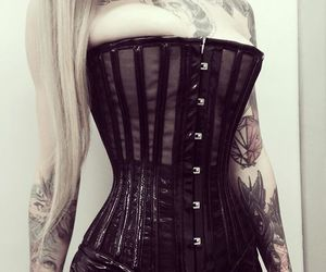 blond girl, corset, and gothic image