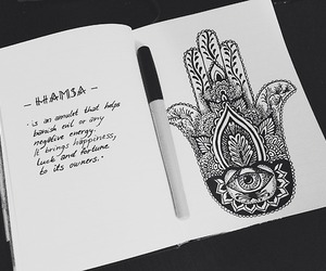 drawing, quote, and hamsa image