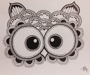 drawing, owl, and black and white image
