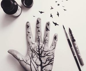 art, bird, and hand image