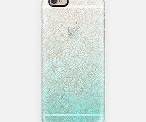 aqua, case, and flowers image