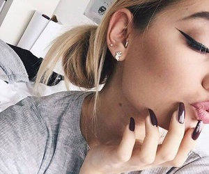 beauty, eyeliner, and earrings image