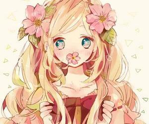 anime girl and flowers image