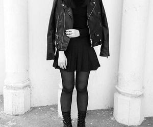 black and white, choker, and fashion image