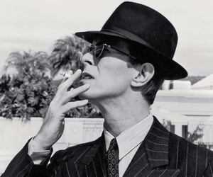 david bowie, black and white, and cigarette image