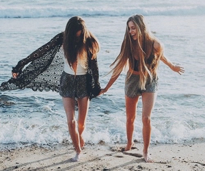 beach, friends, and girl image
