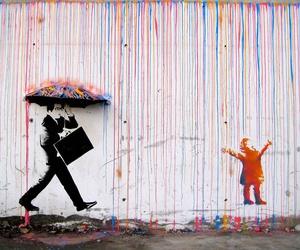 art, rain, and colors image